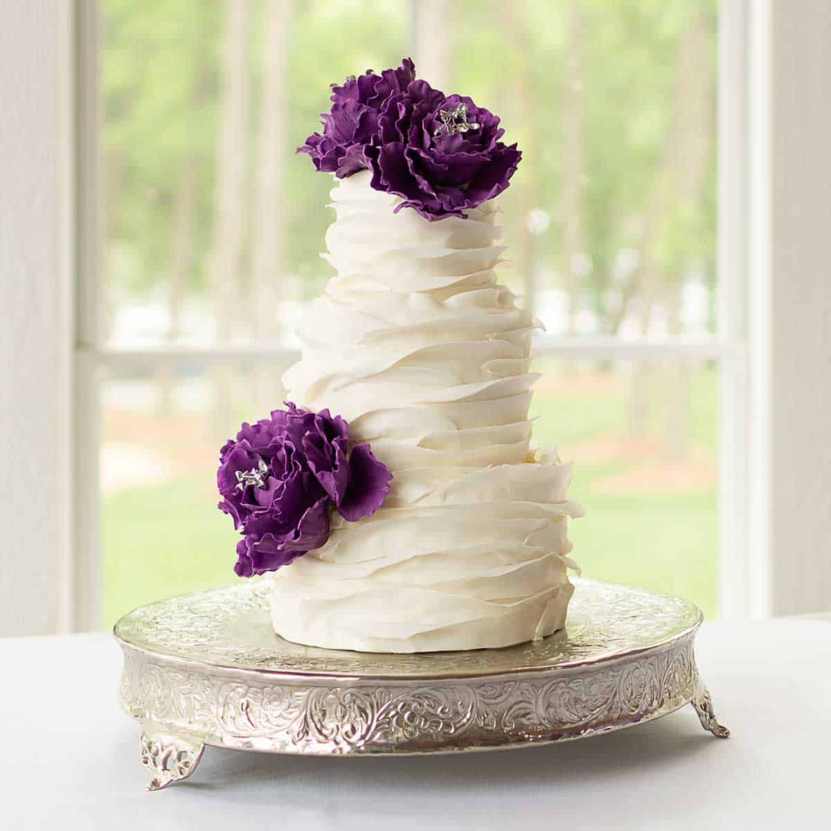 3 tier White Wedding Cake with Sugar Peonies