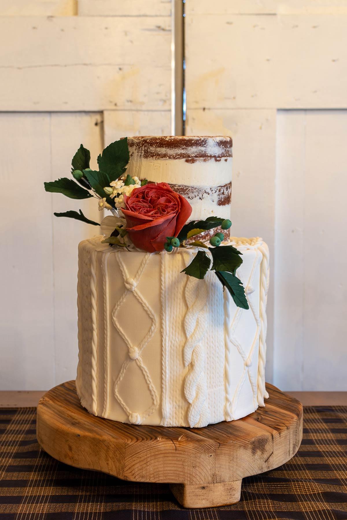 Winter Sweater Wedding Cake