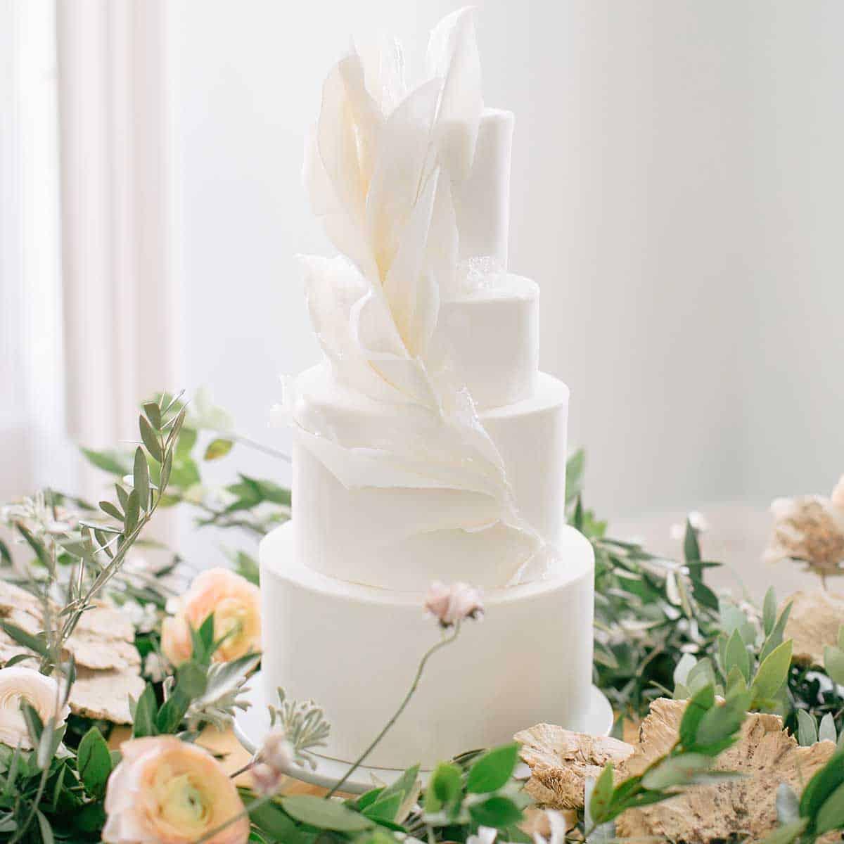 White Waves Wedding Cake